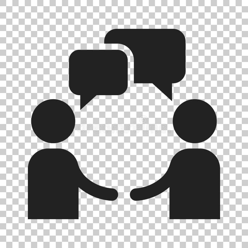 Het pictogram van besprekingsmensen in vlakke stijl Mens met toespraakbel illustrat vector illustratie