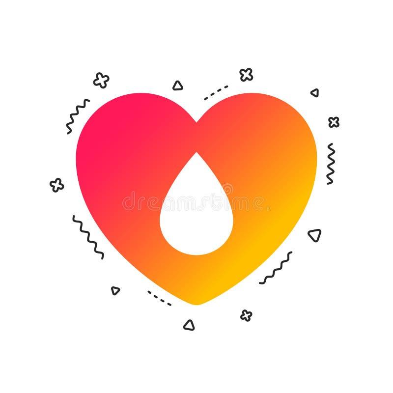 Het pictogram van het bloeddonatieteken Medische schenking Vector stock illustratie