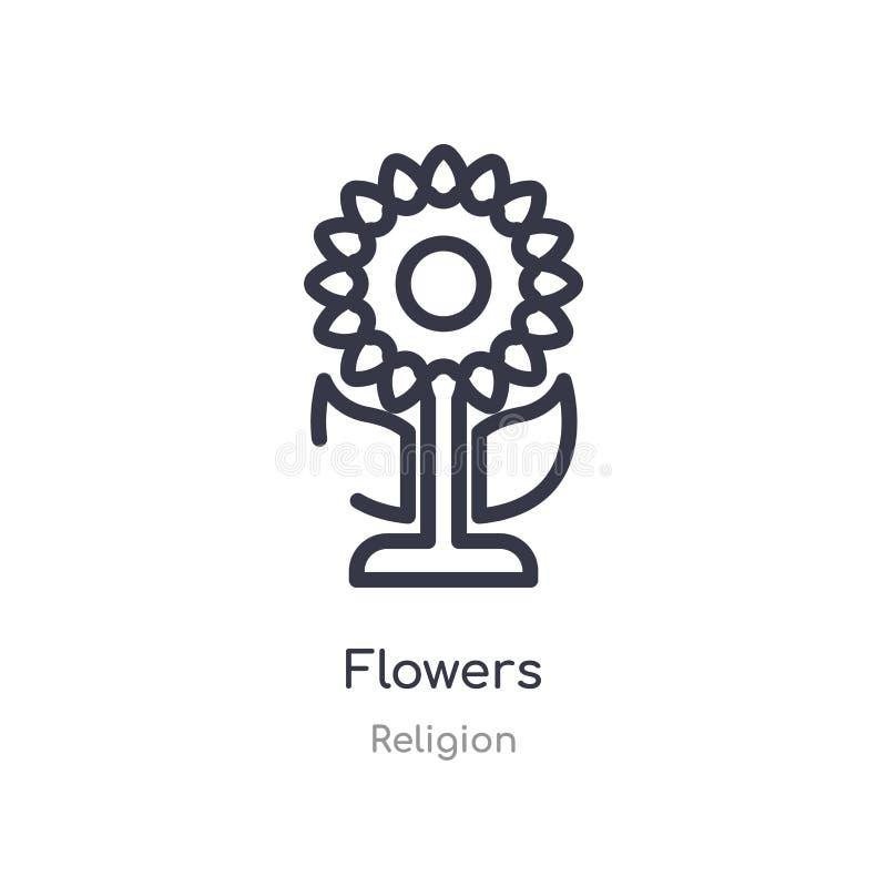 het pictogram van het bloemenoverzicht ge?soleerde lijn vectorillustratie van godsdienstinzameling het editable dunne pictogram v stock illustratie