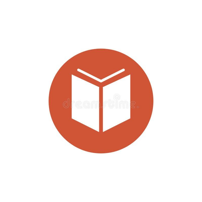 Het pictogram van het boekteken in cirkel Open boeksymbool Cirkelknoop Vector illustratie die op witte achtergrond wordt geïsolee royalty-vrije illustratie