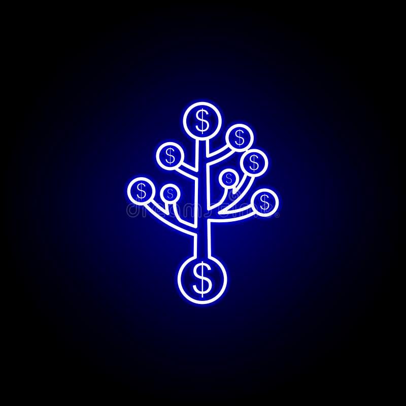 het pictogram van boomdollars in neonstijl Element van financi?nillustratie Tekens en symbolen het pictogram kan voor Web, emblee stock illustratie