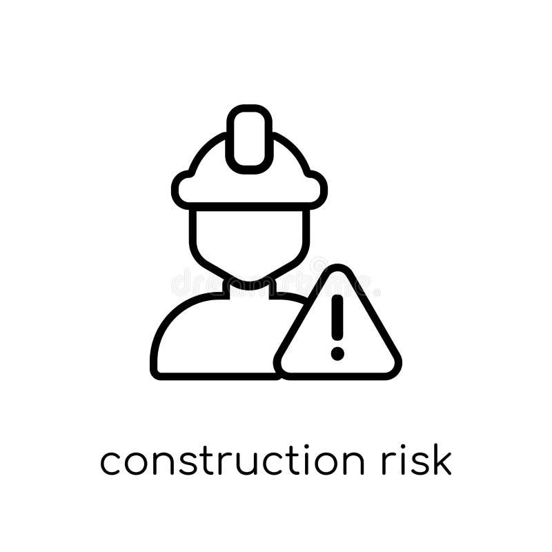 het pictogram van het bouwrisico In moderne vlakke lineaire vectorconstru royalty-vrije illustratie