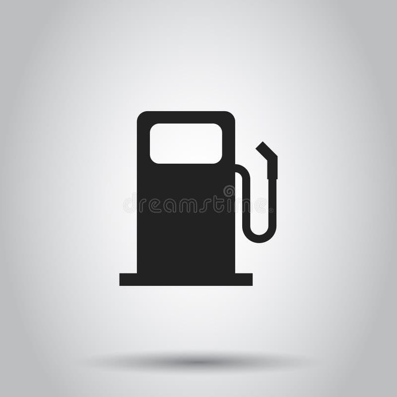 Het pictogram van het brandstofbenzinestation Vectorillustratie op geïsoleerd backgroun stock illustratie