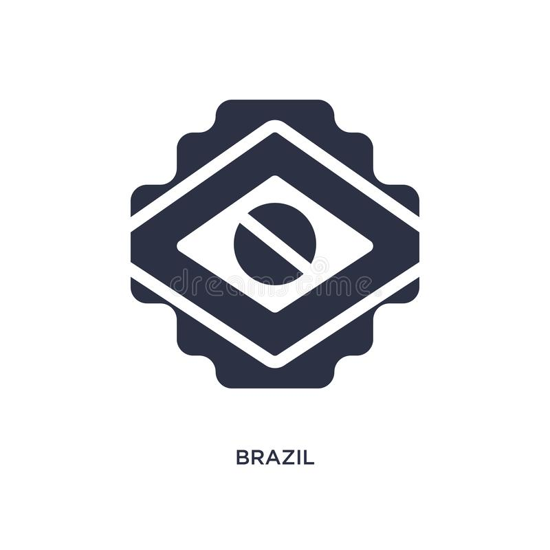 het pictogram van Brazilië op witte achtergrond Eenvoudige elementenillustratie van braziliaconcept vector illustratie