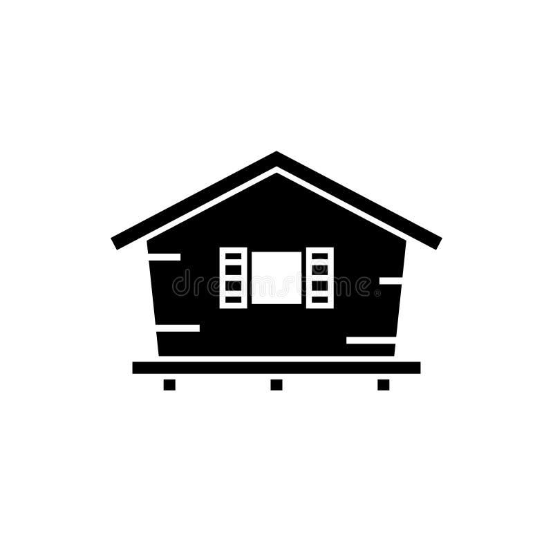 Het pictogram van het bungalowsilhouet stock illustratie