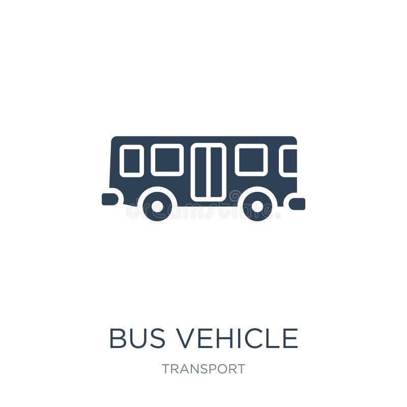 het pictogram van het busvoertuig in in ontwerpstijl het pictogram van het busvoertuig op witte achtergrond wordt geïsoleerd die  vector illustratie