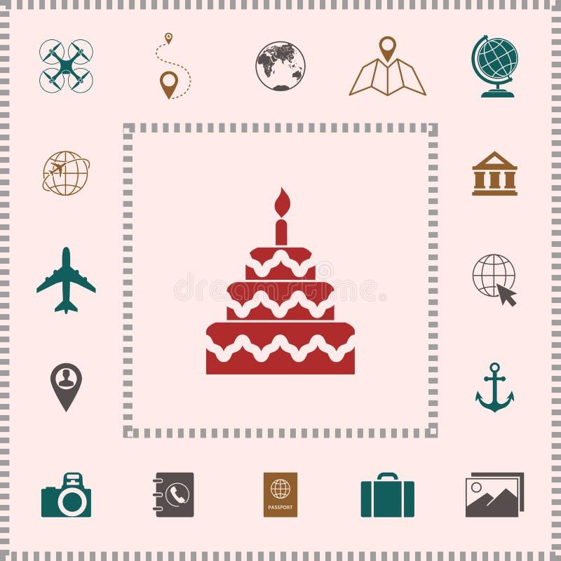 Het pictogram van het cakesymbool vector illustratie