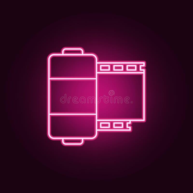 Het pictogram van het camerabroodje Elementen van Media in de pictogrammen van de neonstijl Eenvoudig pictogram voor websites, We vector illustratie