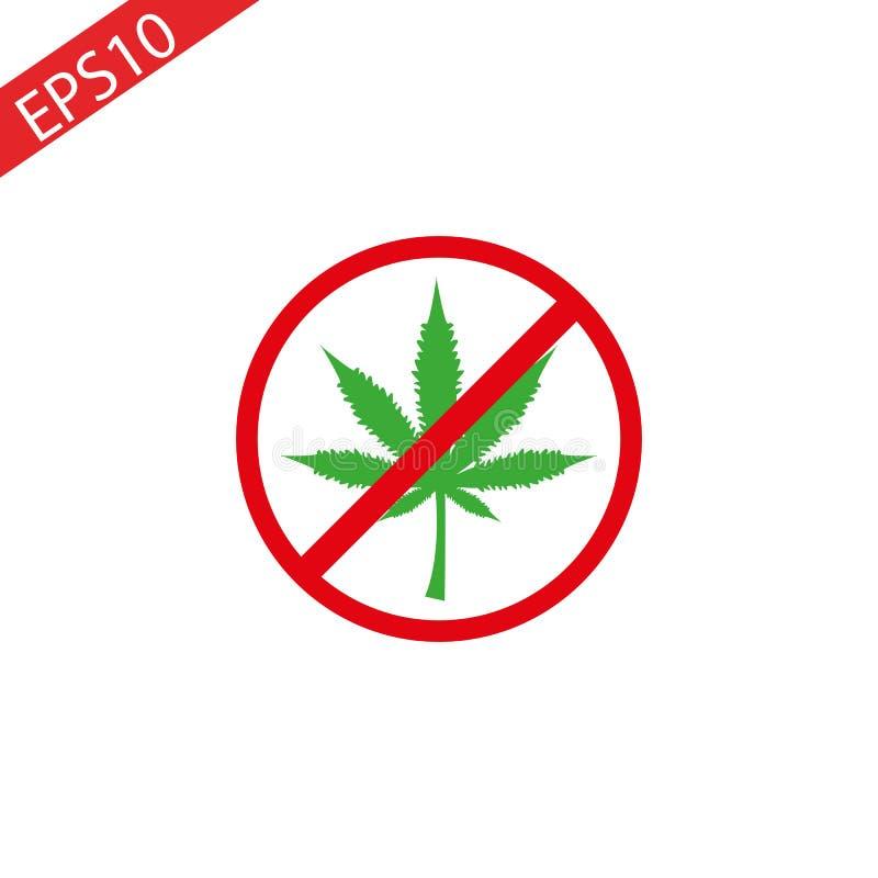 Het pictogram van het cannabisblad in verbods rode cirkel Geen Marihuana, geen drugs Verboden die teken op witte achtergrond word stock afbeeldingen