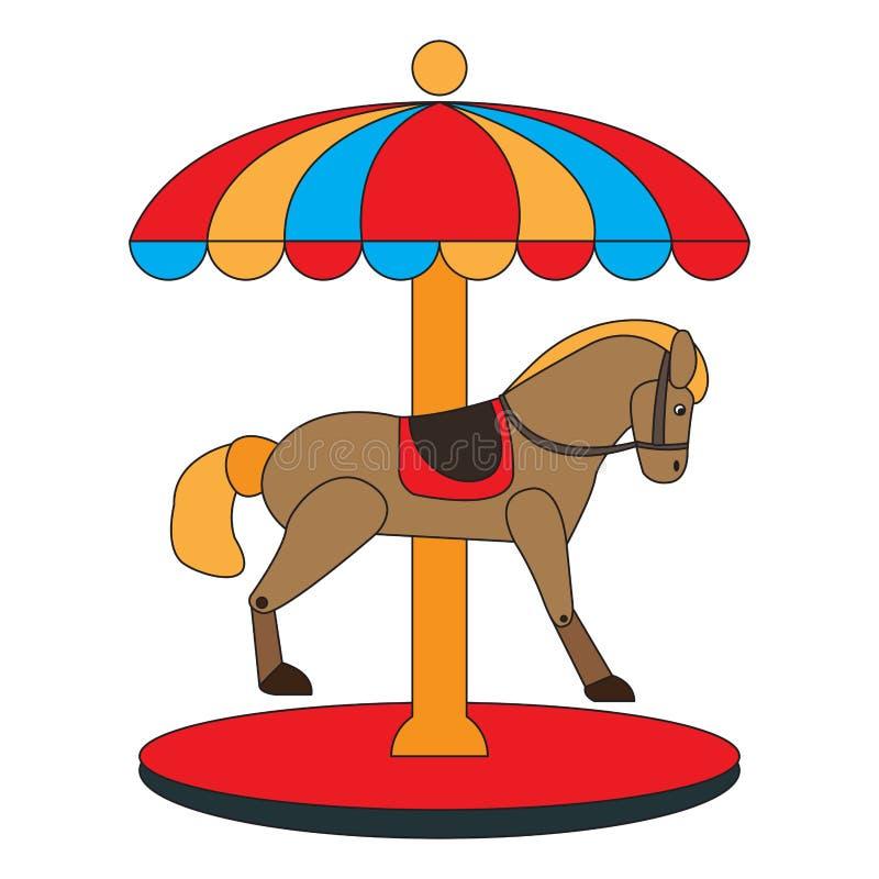 Het pictogram van het carrouselpaard vector illustratie