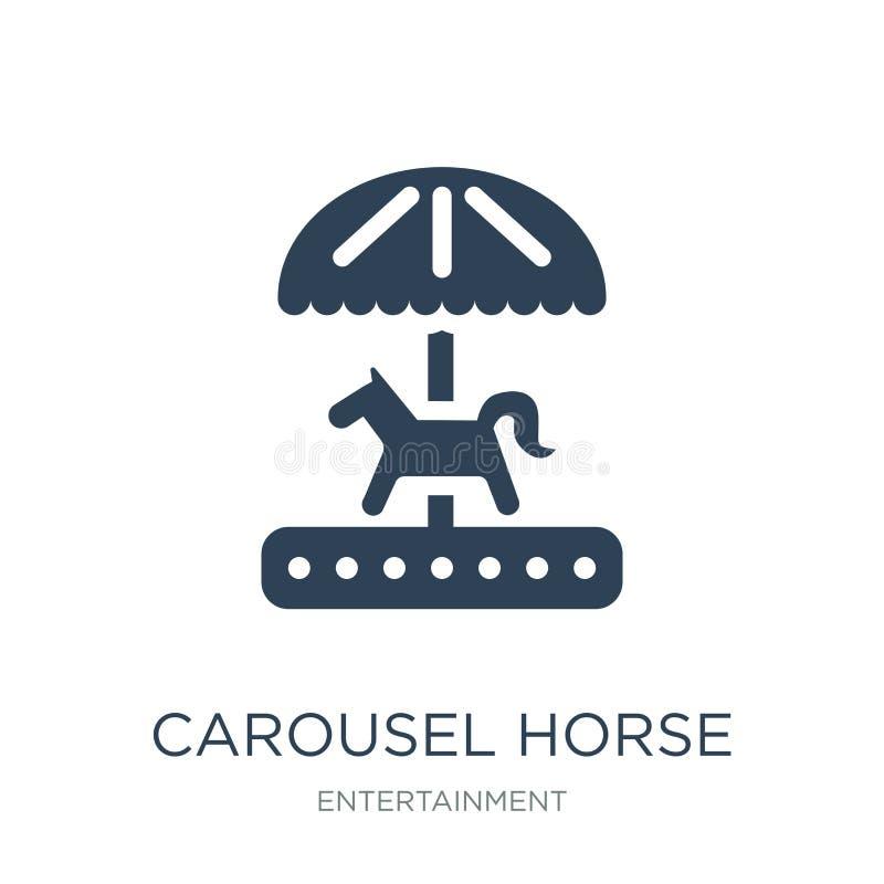 het pictogram van het carrouselpaard in in ontwerpstijl het pictogram van het carrouselpaard op witte achtergrond wordt geïsoleer royalty-vrije illustratie