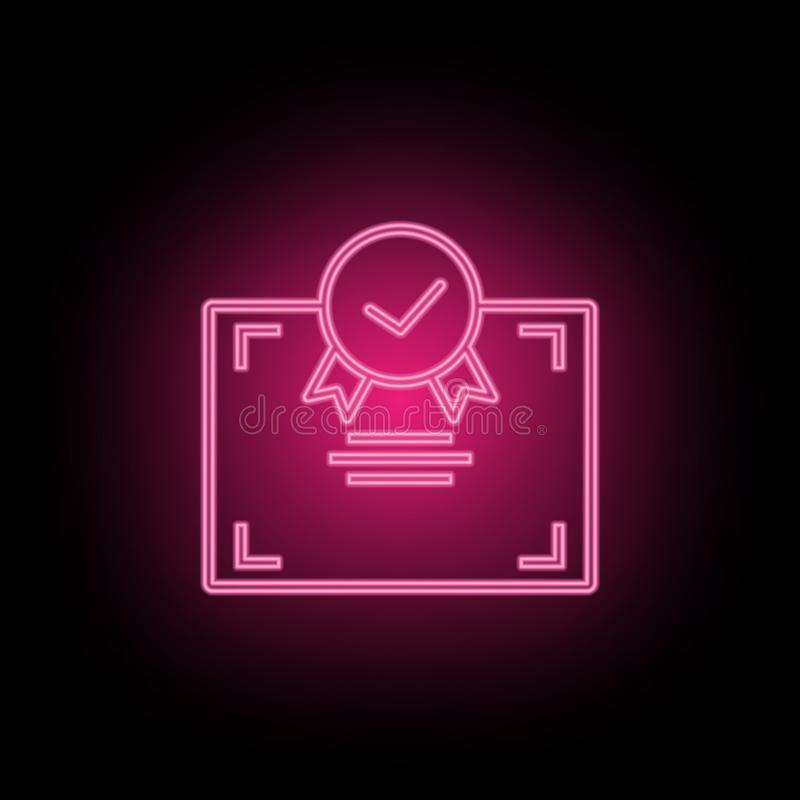 Het pictogram van het certificaatneon kan worden gebruikt om onderwerpen over SEO-optimalisering, gegevensanalytics, website te i stock illustratie