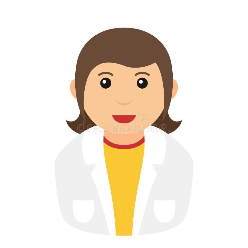Het Pictogram van chemicuswoman avatar flat op Wit vector illustratie