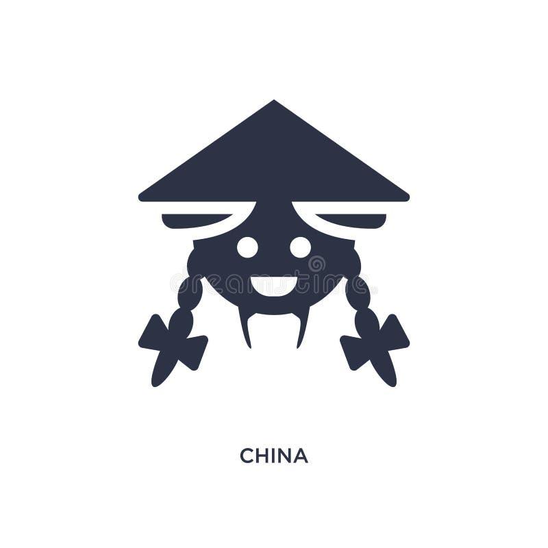 het pictogram van China op witte achtergrond Eenvoudige elementenillustratie van Aziatisch concept royalty-vrije illustratie