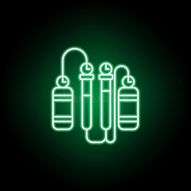 Het pictogram van het cilinderoverzicht in neonstijl Kan voor Web, embleem, mobiele toepassing, UI, UX worden gebruikt stock illustratie