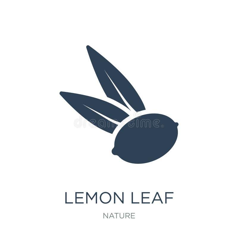 het pictogram van het citroenblad in in ontwerpstijl het pictogram van het citroenblad op witte achtergrond wordt geïsoleerd die  royalty-vrije illustratie