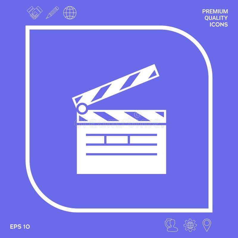 Het pictogram van het Clapperboardsymbool Grafische elementen voor uw ontwerp stock illustratie