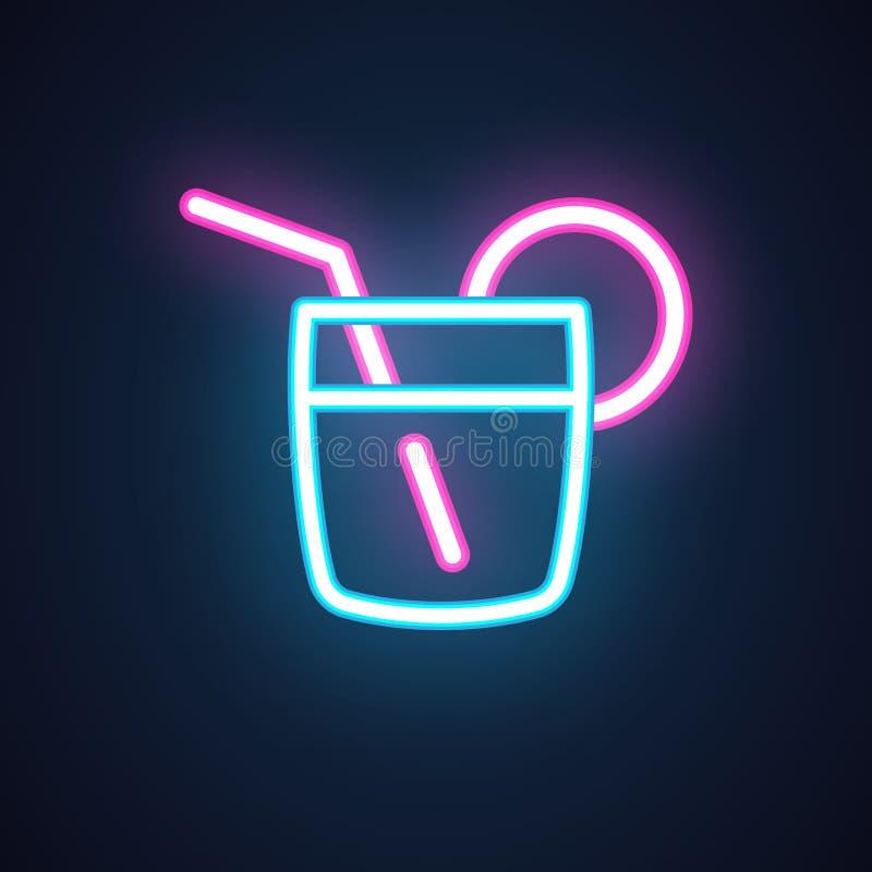 Het pictogram van het cocktailneon Drank in glas met stro Alcoholschot Verlicht etiket voor partijen, gebeurtenis, bar, restauran royalty-vrije illustratie