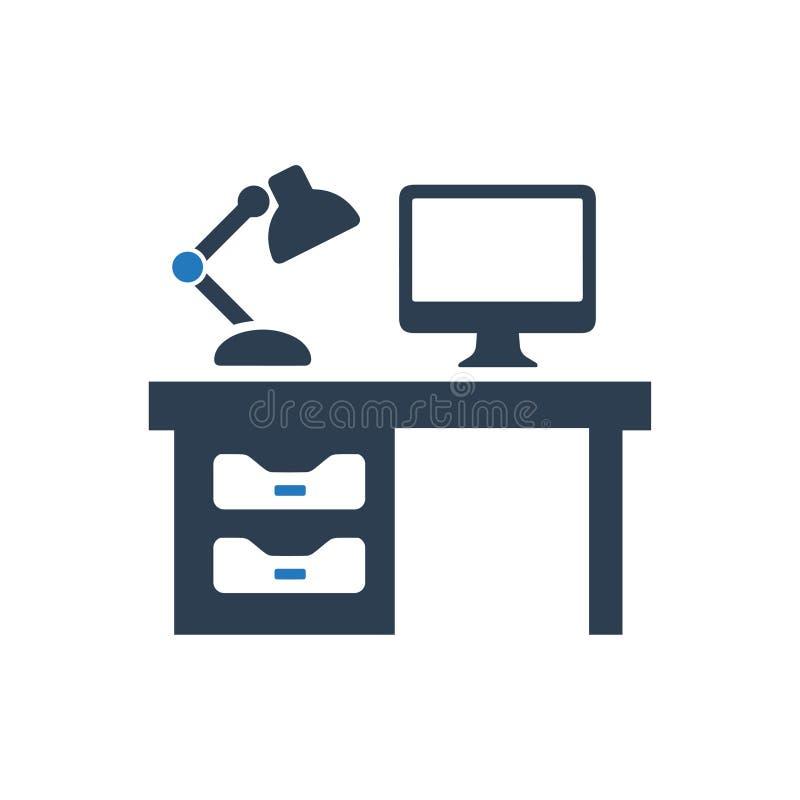 Het pictogram van het computerbureau vector illustratie