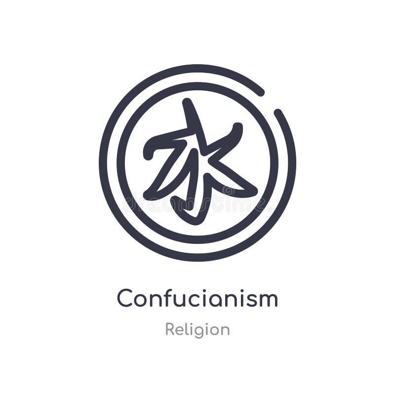 het pictogram van het confucianismeoverzicht ge?soleerde lijn vectorillustratie van godsdienstinzameling het editable dunne picto royalty-vrije illustratie