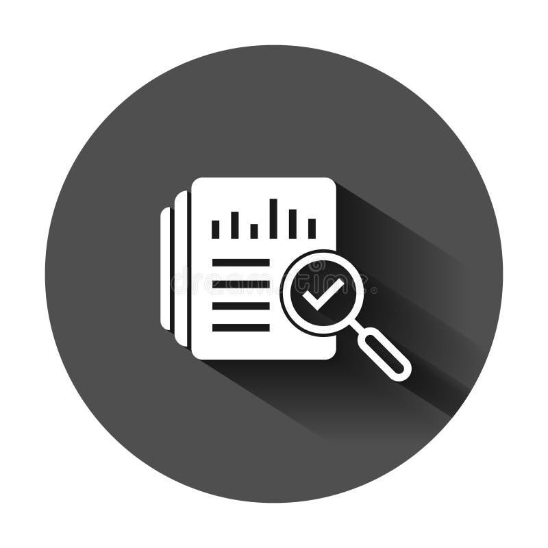 Het pictogram van het controledocument in vlakke stijl De vectorillustratie van het resultaatrapport op zwarte ronde achtergrond  vector illustratie
