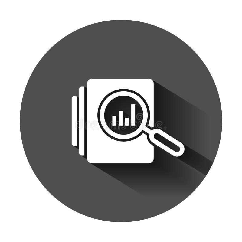 Het pictogram van het controledocument in vlakke stijl De vectorillustratie van het resultaatrapport op zwarte ronde achtergrond  royalty-vrije illustratie