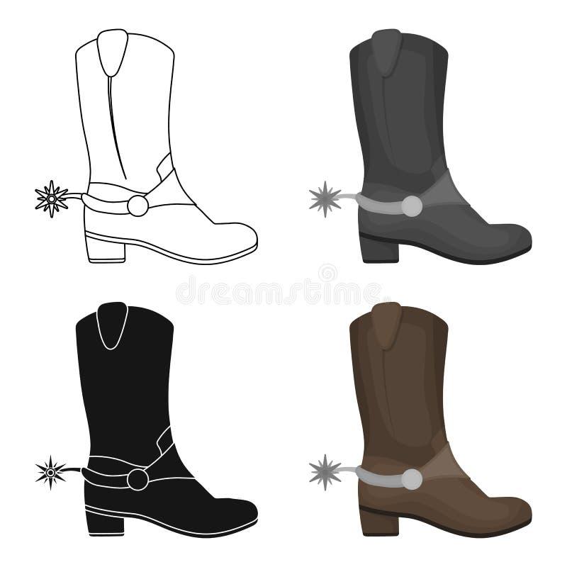 Het pictogram van cowboy` s laarzen in beeldverhaalstijl op witte achtergrond Van de het symboolvoorraad van het land van de V.S. vector illustratie