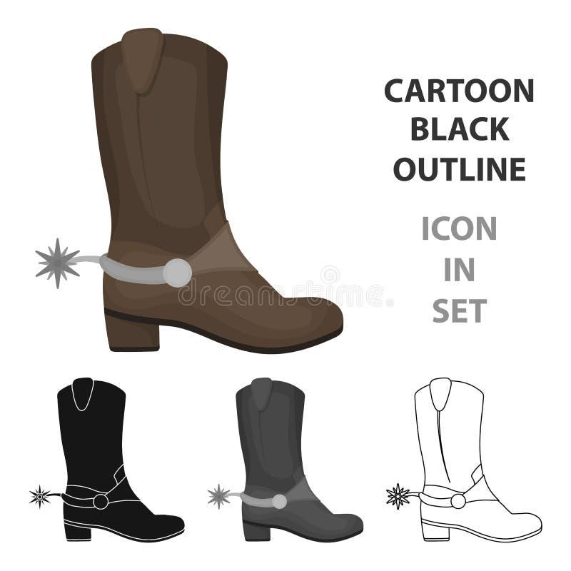 Het pictogram van cowboy` s laarzen in beeldverhaalstijl op witte achtergrond wordt geïsoleerd die Van de het symboolvoorraad van royalty-vrije illustratie