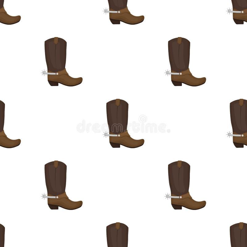 Het pictogram van cowboylaarzen in beeldverhaalstijl op witte achtergrond wordt geïsoleerd die royalty-vrije illustratie