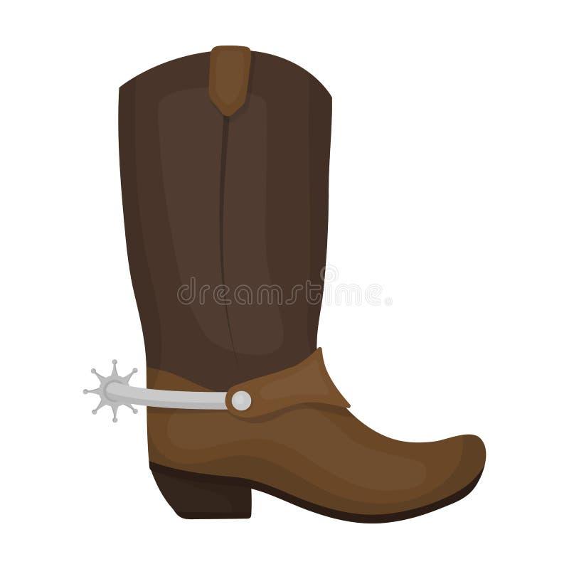 Het pictogram van cowboylaarzen in beeldverhaalstijl op witte achtergrond wordt geïsoleerd die De voorraad vectorillustratie van  stock illustratie