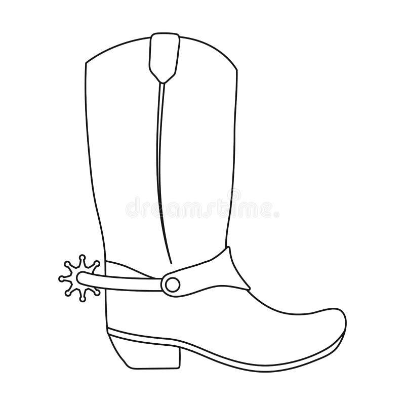 Het pictogram van cowboylaarzen in overzichtsstijl op witte achtergrond wordt geïsoleerd die Cowboy op stijl van het paard de vla royalty-vrije illustratie