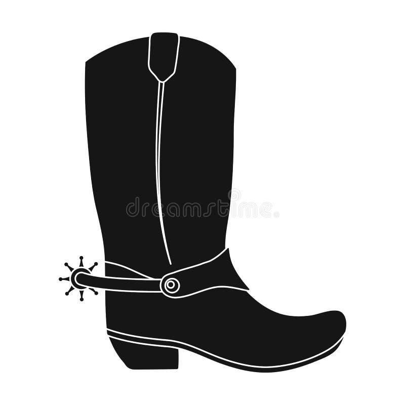 Het pictogram van cowboylaarzen in zwart-wit die stijl op witte achtergrond wordt geïsoleerd Cowboy op stijl van het paard de vla royalty-vrije illustratie