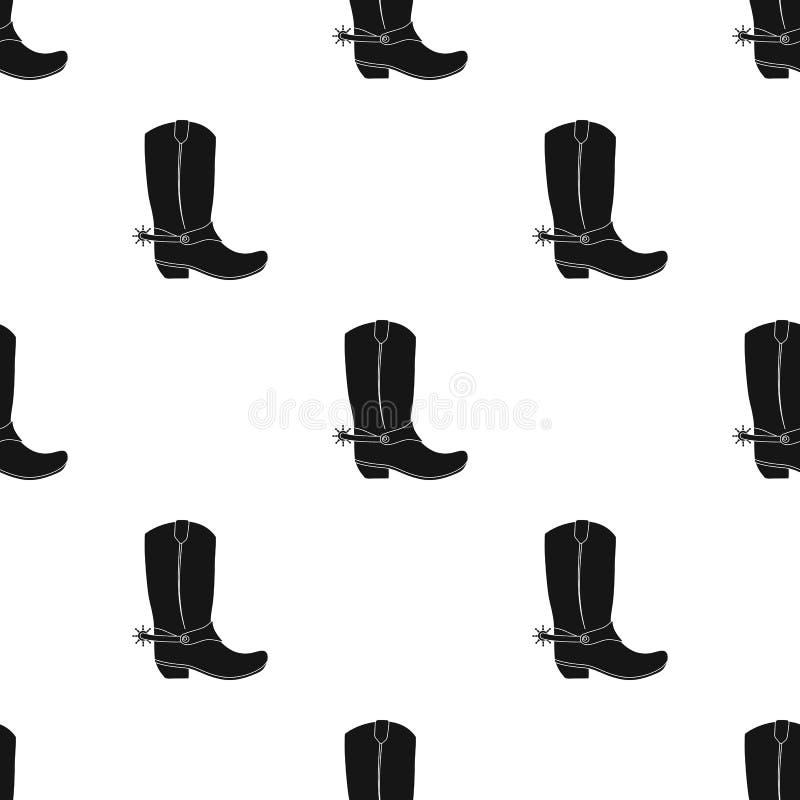 Het pictogram van cowboylaarzen in zwarte die stijl op witte achtergrond wordt geïsoleerd De voorraad vectorillustratie van het r stock illustratie