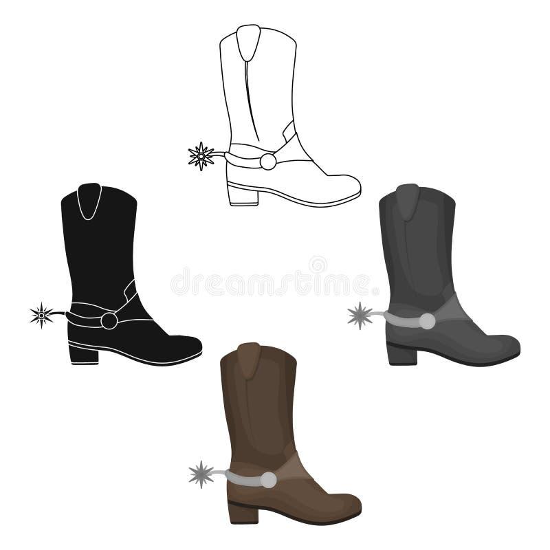 Het pictogram van cowboys laarzen in beeldverhaal, zwarte die stijl op witte achtergrond wordt geïsoleerd Van de het symboolvoorr vector illustratie