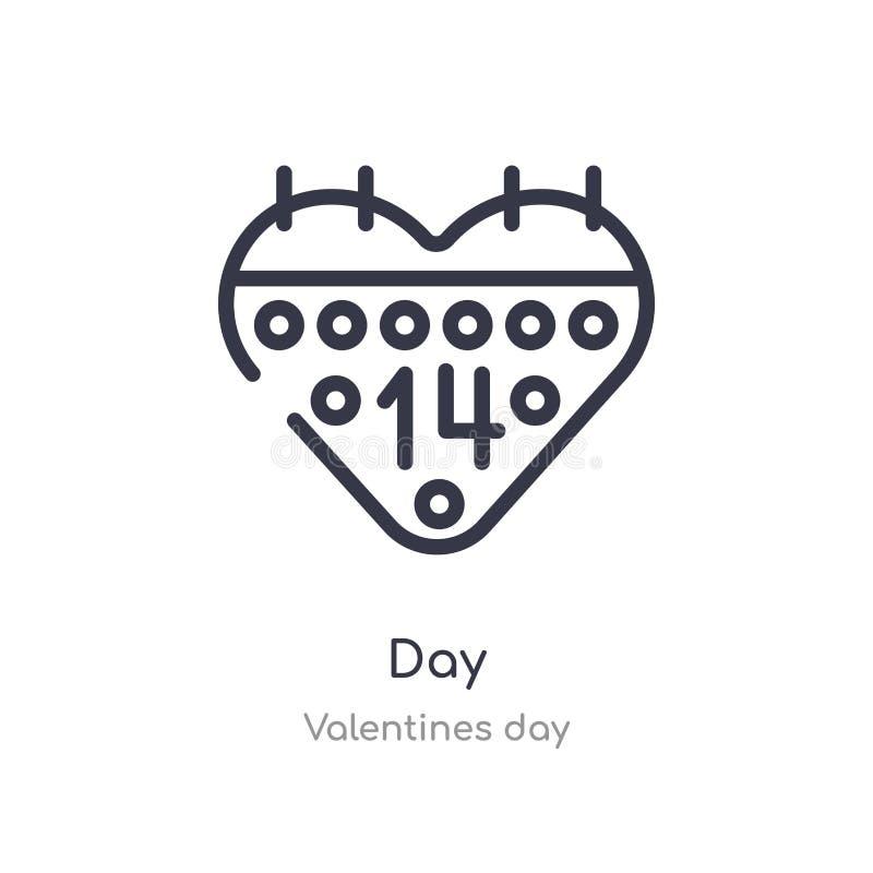 het pictogram van het dagoverzicht ge?soleerde lijn vectorillustratie van de inzameling van de valentijnskaartendag het editable  vector illustratie