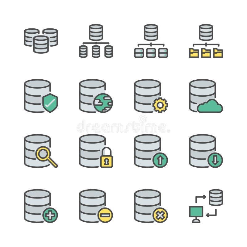 Het pictogram van het databasesysteem in colorlineontwerp dat wordt geplaatst Vector illustratie stock illustratie