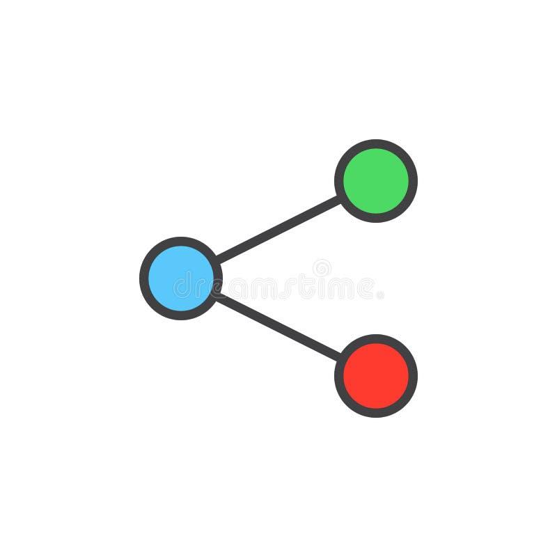 Het pictogram van de aandeellijn, gevuld overzichts vectorteken, lineair kleurrijk die pictogram op wit wordt geïsoleerd vector illustratie