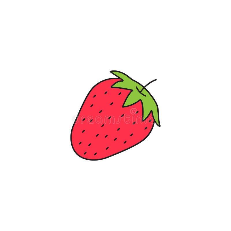Het pictogram van de aardbei stevige lijn, gezond fruit, royalty-vrije illustratie