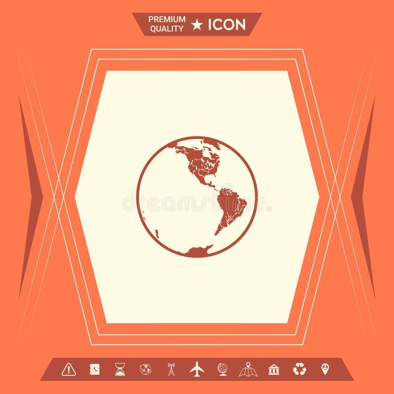 Het pictogram van de aarde embleem royalty-vrije illustratie