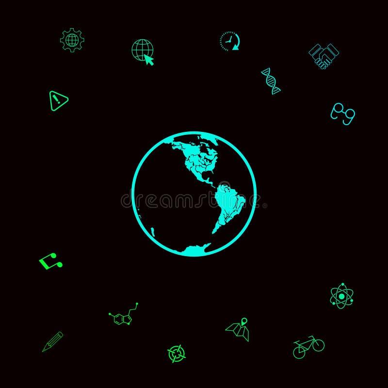 Het pictogram van de aarde embleem stock illustratie