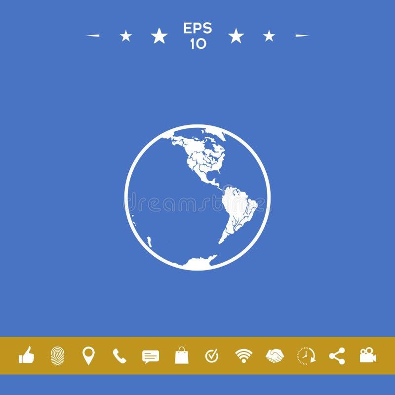 Het pictogram van de aarde embleem vector illustratie