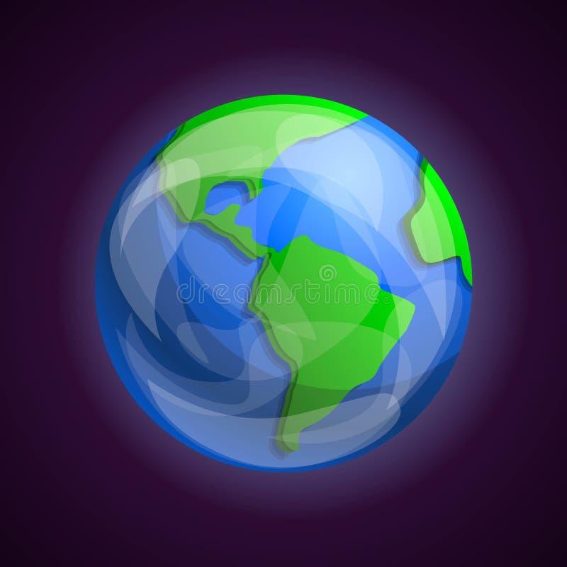 Het pictogram van de aardeplaneet, beeldverhaalstijl royalty-vrije illustratie