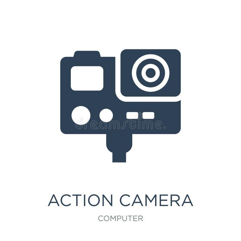 het pictogram van de actiecamera in in ontwerpstijl Het pictogram van de actiecamera op witte achtergrond wordt geïsoleerd die he vector illustratie