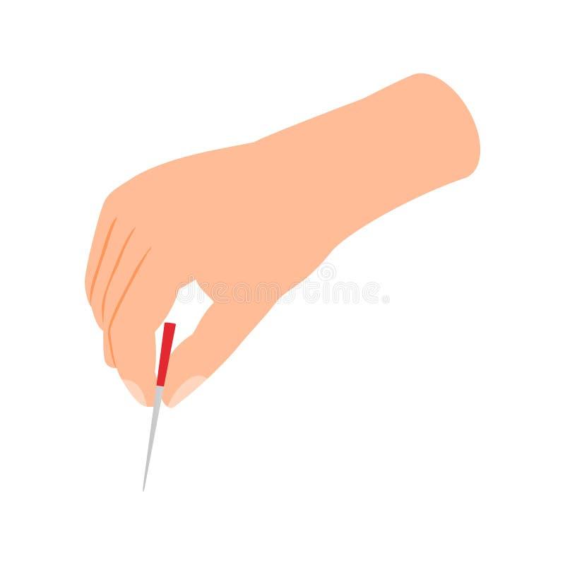 Het pictogram van de acupunctuurnaald, isometrische 3d stijl vector illustratie