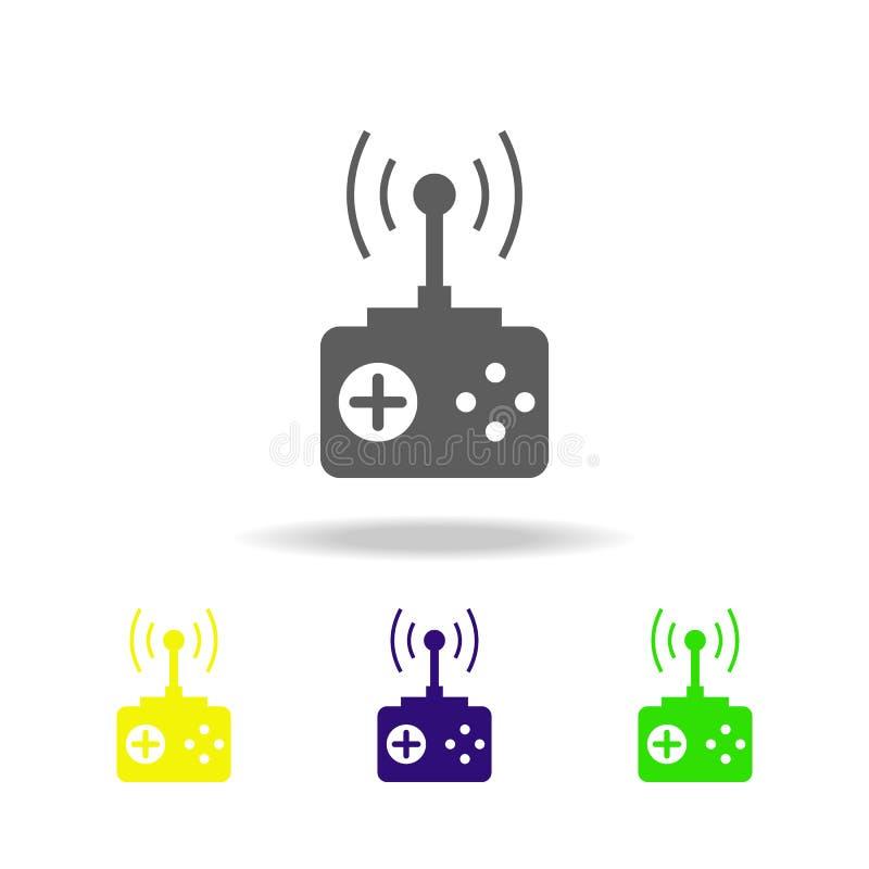 Het pictogram van de afstandsbedieningkleur Elementen van een gecontroleerd pictogram van de vliegtuigenkleur Tekens, de inzameli stock illustratie
