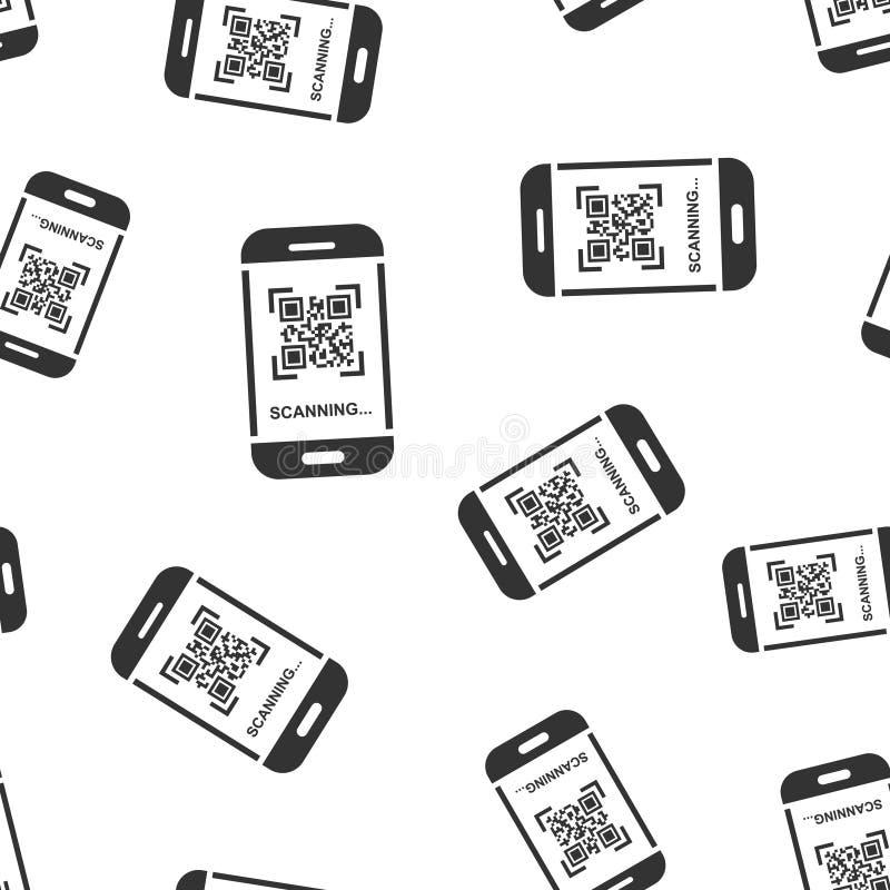 Het pictogram van de het aftastentelefoon van de Qrcode naadloze patroonachtergrond Scanner in smartphone vectorillustratie op wi royalty-vrije illustratie