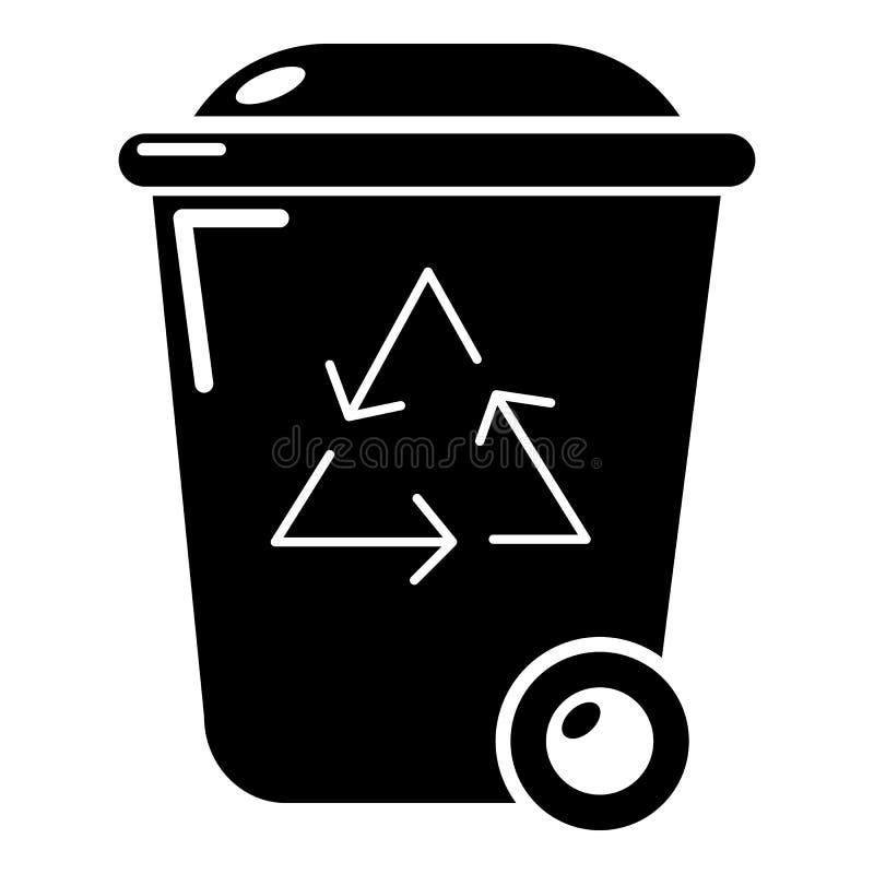 Het pictogram van de afval wheelie bak, eenvoudige stijl stock illustratie