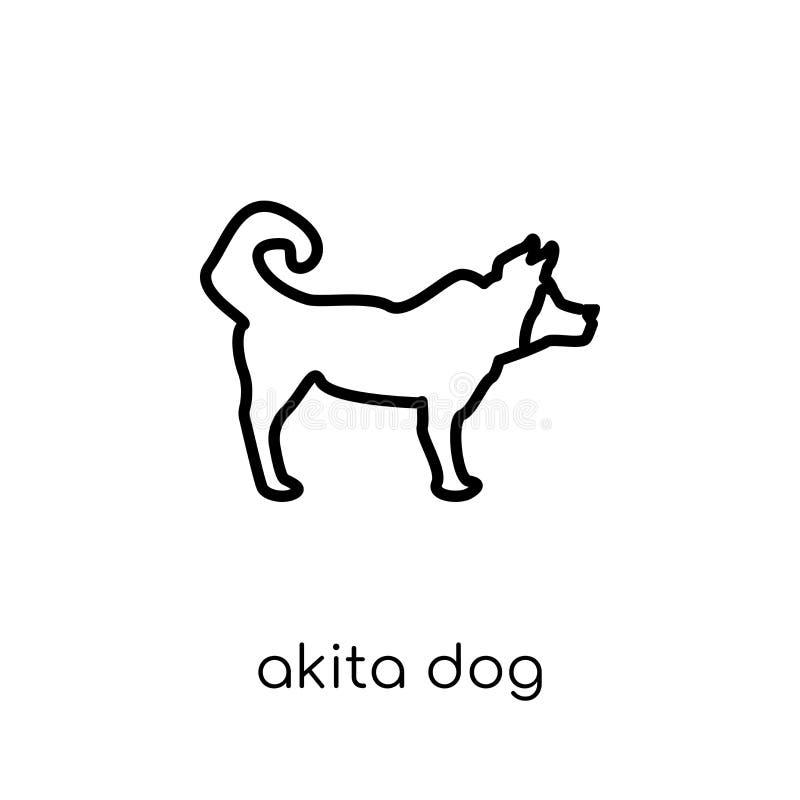 Het pictogram van de Akitahond In modern vlak lineair vectorakita-hondpictogram stock illustratie