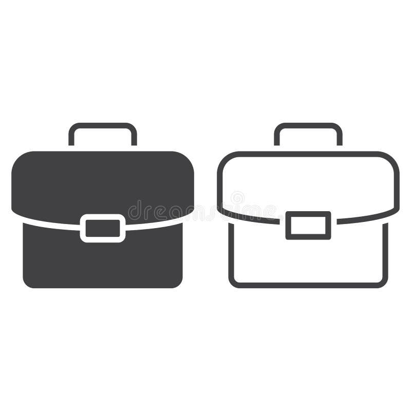 Het pictogram van de aktentaslijn, portefeuilleoverzicht en stevig vectorteken stock illustratie