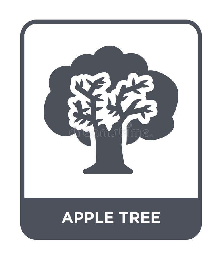het pictogram van de appelboom in in ontwerpstijl Apple-boompictogram op Witte achtergrond wordt geïsoleerd die het vector eenvou vector illustratie